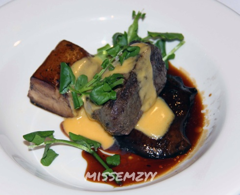 Pure Angus beef tenderloin with portobello mushroom, potato fondant, hollandaise and beef jus,