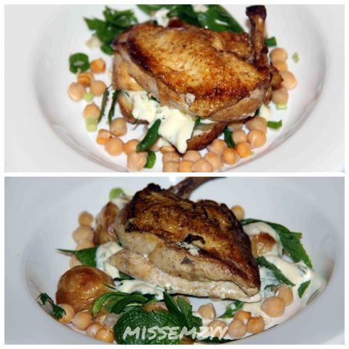 """Baharat"" spiced corn fed chicken breast with warm chickpea, chat potato and herb salad with citrus crème and fraiche dressing"