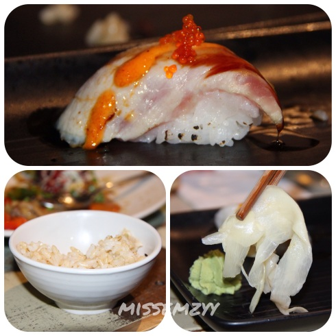 Flame grilled kingfish sushi, brown rice, thin slices of ginger and wasabi