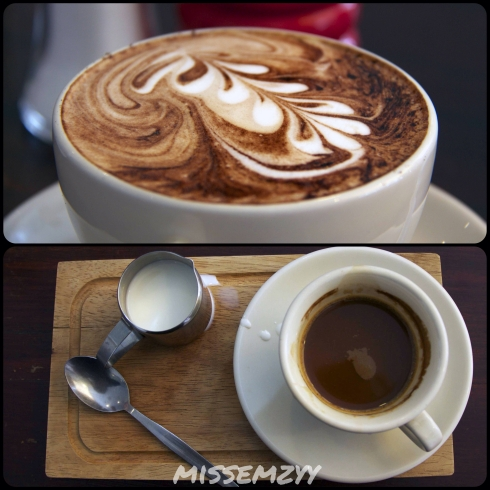 Cappuccino and Long black with milk on the side
