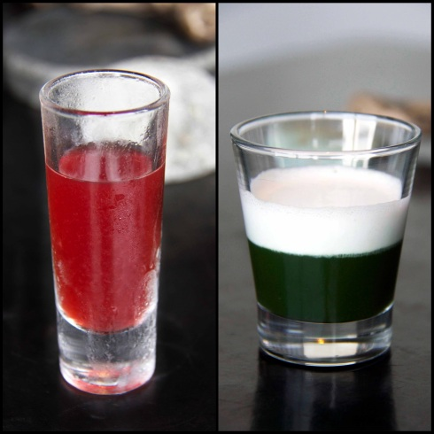 Berry juice (Left) and Kale, celery and coconut shot (right)