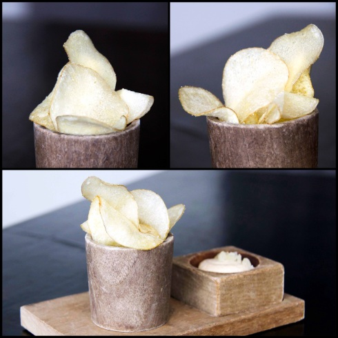 Potato chips with a macadamia and apple dip