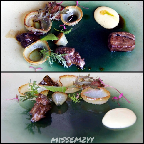 Blackmore Wagyu, onions and mustard greens